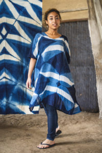 "Cotton Gauze Summer Dress ""Sea"" (Indigo)"