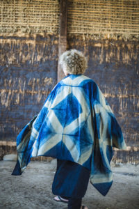 Indigo dyeing gauze shawl full cross