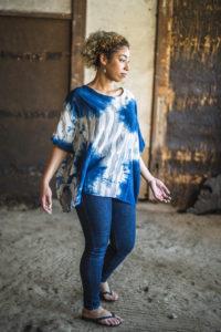 "Cotton Gauze Pullover Tops ""Big Vest Zebra"" IND×WHT  (Indigo & Sumi ink)"