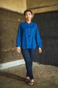 Linen Stand Collar Shirt Indigo (Indigo)