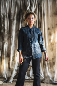 Linen Stand Collar Shirt Midnight Black (Mud&Indigo Dye)