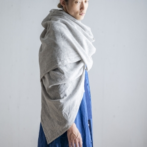 ガーゼショール  フル  INDIGO/LIGHT GRAY/LIGHT BROWN/YELLOW