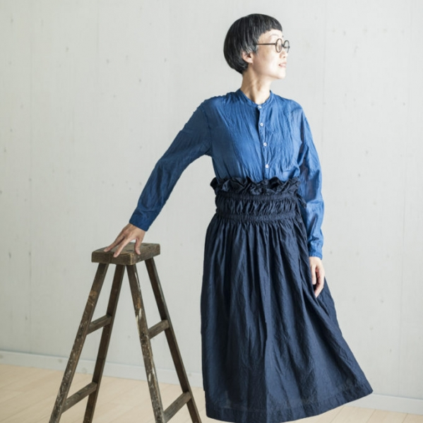 KAKU Skirt  DARK INDIGO/LIGHT GRAY